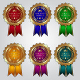 Vector set of golden badges with color ribbons and Stock Photos
