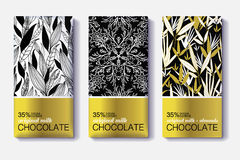 Vector Set Of Golden Chocolate Bars. Black, White Patterns Package Designs. With Natural Leaves Patterns. Editable Packaging Template Collection. Surface Stock Photos