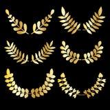 Vector set of golden design floral laurels isolated on black background. Stock Photo