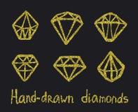 Vector set of golden diamonds Royalty Free Stock Photos