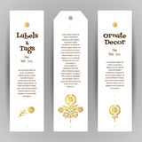 Vector set of golden ethnic labels. Vector set of ornate luxury vertical tags in ethnic style. Eastern floral decor. Template vintage frame for greeting card Stock Image