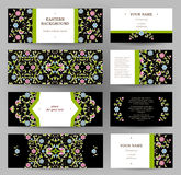 Vector set of golden floral cards. Royalty Free Stock Images