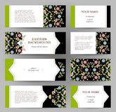 Vector set of golden floral cards. Royalty Free Stock Photo