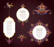 Vector set of golden frames in Eastern style. Stock Photo