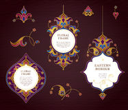 Vector set of golden frames in Eastern style. Royalty Free Stock Image