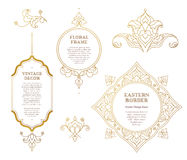 Vector set of golden frames in Eastern style. Royalty Free Stock Images