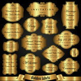 Vector set of golden labels in retro style Royalty Free Stock Photo