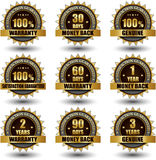 Vector set of golden labels satisfaction. Vector set of 100 percent satisfaction guarantee golden labels vector illustration