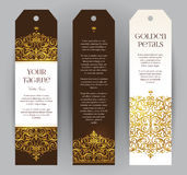 Vector set of golden labels in Victorian style. Stock Photo