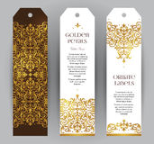 Vector set of golden labels in Victorian style. Stock Photos