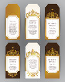 Vector set of golden labels in Victorian style. Vector set of ornate vertical  labels in Victorian style. Eastern floral decor. Template vintage frame for card Stock Photo