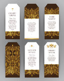 Vector set of golden labels in Victorian style. Vector set of ornate vertical  labels in Victorian style. Eastern floral decor. Template vintage frame for card Royalty Free Stock Photo
