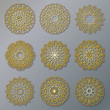 Vector set of golden oriental lacy round patterns. Circle illustrations for design template. Elements in Eastern style Royalty Free Stock Photography