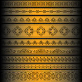 Vector set of golden ornate border set for design Stock Photography