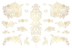 Vector set of golden outline elements in Eastern style.