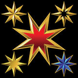 Vector set of golden shiny eight-pointed stars Stock Photos