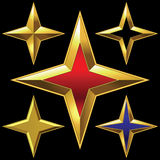 Vector set of golden shiny four-point stars Royalty Free Stock Photography