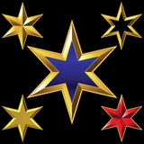 Vector set of golden shiny six-pointed stars Royalty Free Stock Images