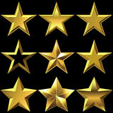 Vector Set of golden shiny stars bulk Royalty Free Stock Photography