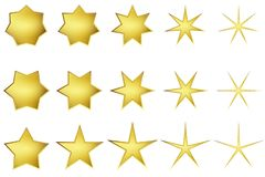 Vector: Golden Stars With Five, Six, Seven Points stock photography