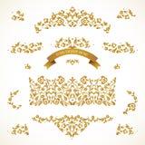 Vector set of golden vignettes in Eastern style.