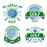 Vector set of Golf badges, logo templates, etc. With club and ball. Royalty Free Stock Image
