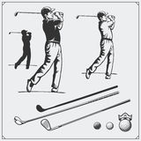Vector set of golf players and golf elements. Stock Photo