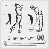 Vector set of golf players and golf elements. Black and white Royalty Free Stock Photography