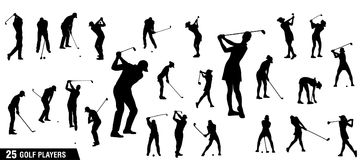 Vector set of golf players silhouettes. Golf silhouettes, Vector set of golf players Stock Image
