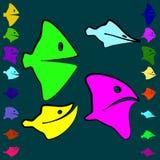Vector set of good and evil fish for children. stock illustration