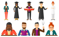 Vector set of graduate student characters. Stock Photos