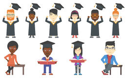 Vector set of graduates and business characters. Stock Photography