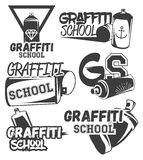 Vector set of graffiti school labels in vintage retro style. Street art design elements, icons, logo. Spray can. Stock Images