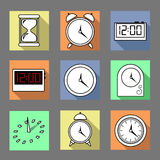 Vector. Set of graphic clocks icons. Sun clock, digital clock, table clock, alarm clock, sand clock. Isolated illustration. Royalty Free Stock Images