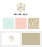 Vector set of graphic design elements. Logo design templates and seamless patterns in trendy linear and minimal style - business card templates for beauty and vector illustration
