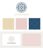 Vector set of graphic design elements. Logo design templates and seamless patterns in trendy linear and minimal style - business card templates for beauty and royalty free illustration