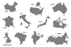 Vector set of gray countries. Set of countries from hexagons Royalty Free Stock Photo
