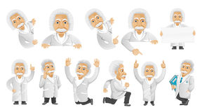 Vector set of gray-haired old man illustrations. stock illustration