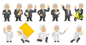 Vector set of gray-haired old man illustrations. Royalty Free Stock Photography