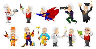 Vector set of gray-haired old man illustrations. Stock Photography