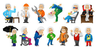 Vector set of gray-haired old man illustrations. Royalty Free Stock Images