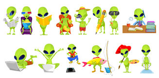 Vector set of green aliens hobby illustrations. Royalty Free Stock Image