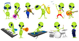Vector set of green aliens music illustrations. Stock Photography