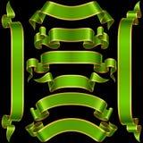 Vector set of Green Banner Ribbon Stock Photography