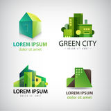 Vector set of green building icons, logos. Eco Royalty Free Stock Images