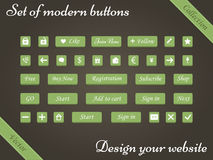 Vector set of green buttons and web elements for design websites Royalty Free Stock Image