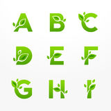 Vector set of green eco letters logo with leaves. Ecological font from A to I. stock illustration