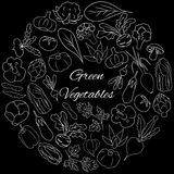 Vector Set with green fresh vegetables. Hand drawn Illustration. Hand drawn round vector set with fresh vegetables Royalty Free Stock Photography