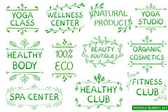 VECTOR set: green hand drawn eco, healthy, fitness, spa center signs. Isolated on white Stock Images