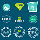 Vector Set of green labels and badges with leaves for organic, natural, bio and eco friendly products, isolated on dark Royalty Free Stock Images